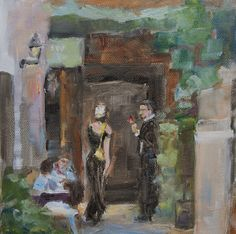 Cafe Painting cityscape Europe 6 x 6 original oil by by cdemum