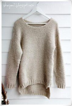 Billedresultat for skappelgenser Easy Knitting, Knitting Patterns Free, Knit Patterns, Free Pattern, Oversized Pullover, Silhouette Portrait, Dressmaking, Knit Crochet, Sewing