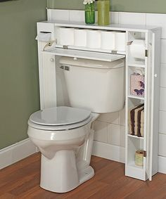 White Commode Space Saver | zulily Could actually make the two side cabinets to fit the current bathroom.