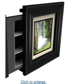 sliding frame hidden storage-Idea to hide tv Hidden Jewelry Storage, Secret Storage, Gun Storage, Hidden Storage, Storage Ideas, Storage Solutions, Food Storage, Hidden Safe, Hidden Gun