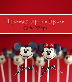 Mickey and Minnie Mouse cake pops