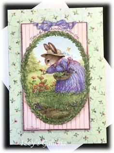 Vintage Holly Pond Susan Wheeler Picking Flowers Bunny Blank Note Card   eBay