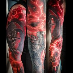 Started off as a cover up, ended up full Sith sleeve Arm Sleeve Tattoos, Sith, Arms, Cover Up, Sleeves, Arm, Weapons