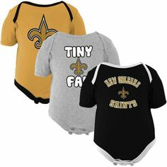New Orleans Saints Infant 3-Pack Tiny Fan Creepers - Black/Old Gold/Ash