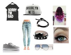 """""""...:)"""" by nehirsanlidag ❤ liked on Polyvore featuring Jena.Theo, Vans, Mitchell & Ness, Alexander McQueen and Rayban"""