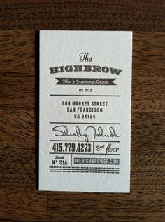 The Highbrow Men's Grooming Lounge Business Cards — Ian Vadas Brand Identity Design Vintage Business Cards, Letterpress Business Cards, Cool Business Cards, Business Branding, Business Card Design, Creative Business, Web Design, Print Design, Design Layouts