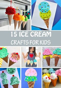 Ice cream crafts for kids to make this summer. Use paper, cardboard, cupcake liners, cotton pads, paper plates and more. #icecream #summercraft