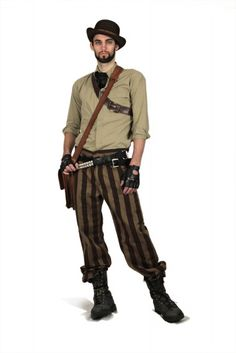 Mr.Brown striped pants, Steampunk Couture