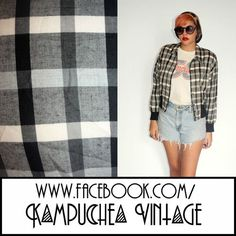 Vintage Black White Check Jacket Ribbed Waist Womens S - 1990s Indie FREE P Great little light weight jacket made from black and white checked fabric with a thickly ribbes waist that makes it super comfy to wear. Button up with one front pocket this is a great addition to any summer wardrobe. £11.80