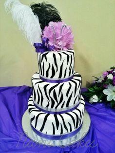Sweet 15. Quinceañera cake purple and pink zebra fondant cake.