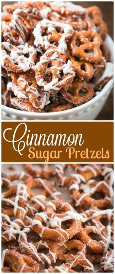 cinnamon sugar pretzels are one of our all time favorite snacks or treats. Adults and kids cannot stay out of the bowl. trust me!