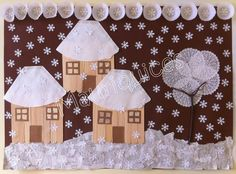 Mauriquices: Previsão de queda de neve para os 600/800 metros! ( Popsicle stick houses, coffee filter roofs, cupcake liners, twigs, punched snowflakes)