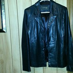 COUTURE  by J.Park lambs  skin leather Black  leather  coat buttery soft. And silky lining  great  condition  size  medium Couture  J.Park   Jackets & Coats