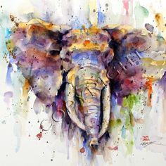 Imprimir acuarela elefante por Dean Crouser por DeanCrouserArt