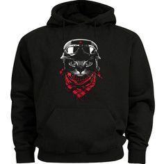 Hipster cool cat hoodie sweatshirt hoody Men's size sweat shirt black cat shirt #Gildan #Hoodie