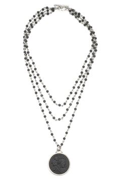 """17"""" triple strand sandblast black jasper micro-linkage with antiqued sterling silver-clad small smooth bezel and matte black St. Christopher-Moderne medallion, $297.00 - See more at: http://www.frenchkande.com/product-detail.php?g=CC502-Z#sthash.xzlAIum2.dpuf"""
