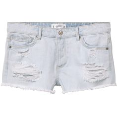 MANGO Denim Shorts ($40) ❤ liked on Polyvore featuring shorts, pants, distressed shorts, denim shorts, torn shorts, embellished jean shorts and bleached shorts