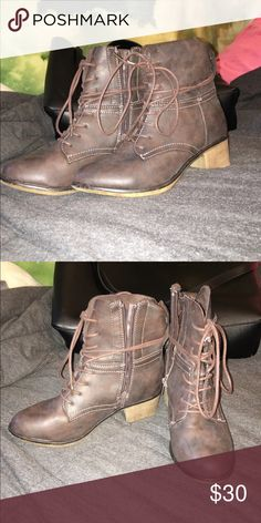 Bella Marie Booties NWOT! Classified as Taupe (on the darker side), zipper and laces. Bella Marie Shoes Ankle Boots & Booties
