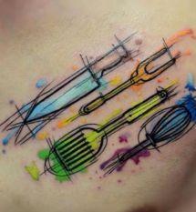 60 Culinary Tattoos For Men - Cooking Ink Ideas Baker Tattoo, Chef Tattoo, Food Tattoos, Body Art Tattoos, New Tattoos, Sleeve Tattoos, Tattoos For Guys, Tatoos, Mini Tattoos
