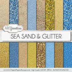 "Digital papers beach sand, ""SEA SAND & GLITTER"" beach, sand, glitter, beach textures, sand photos,sand texture blue sky, gold, beach glitter"