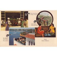 Marmont Hill paa Postcard 1 inch Pan Am Vintage Aviation Print on Canvas, Size: 45 inch x 30 inch, Multicolor