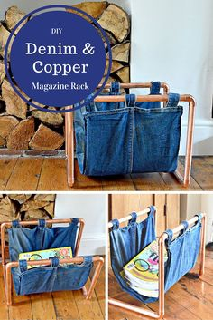By upcycling a pair of old jeans and some copper piping, you can make this on trend denim and copper magazine rack.  Full step by step tutorial.