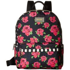 Betsey Johnson Backpack (Cover Roses/Red) Backpack Bags ($98) ❤ liked on Polyvore featuring bags, backpacks, red backpack, zipper bag, strap backpack, flat backpack and polyester backpack