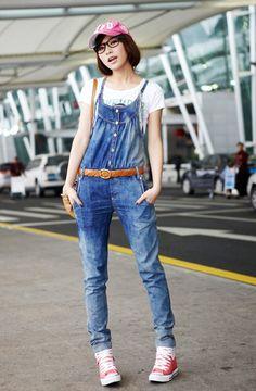 Women Korea Jean Shown Thin Spaghetti Straps Blue Pants S/M/L@IM370bl