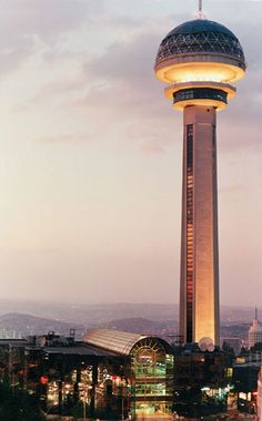 Atakule Tower in Ankara, Turkey is a communication and observation tower. Constructed in 1989, the 125m tower is a landmark of Ankara