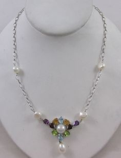 ROSS-SIMONS STERLING SILVER GEMSTONE & PEARL LAVALIER STYLE NECKLACE #RossSimons