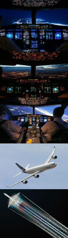 Airbus A340. Vista interior de la cabina en varias fases de vuelo. Un avion mas controlado por un computador que por una mano humana, donde lo importante es saber que boton apretar en el momento mas adecuado.