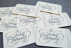 such lovely calligraphy in these business cards by Sesame Letterpress (http://sesameletterpress.com/)