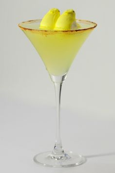 2oz Pear-Infused Brandy  4oz Ketel One Vodka  1oz Dry Vermouth  Ground Cinnamon  2 peeps, still stuck together    Place cinnamon on a saucer.  Wet the rim of the martini glass, and slide it around upside-down on the saucer to apply the cinnamon rim.  Fill a large shaker with ice, and add all three ingredients.  Strain into martini glass,