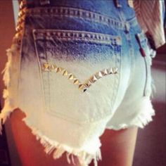 Fashion Gradient Rivet Denim Shorts