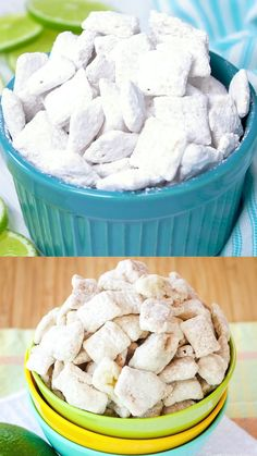 Key Lime Pie Puppy Chow Recipe - a fun, citrus-flavored version of your favorite muddy buddies Chex snack mix recipe. Nobody can resist this no-bake treat! Puppy Chow Recipes, Snack Mix Recipes, Lime Recipes, Yummy Snacks, Yummy Food, Healthy Puppy Chow, Chow Chow Recipe, Recipe Puppy, Chex Recipes