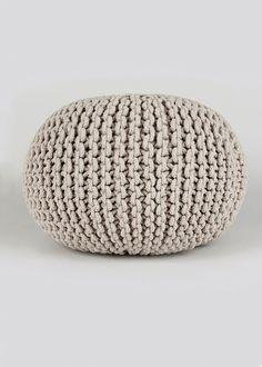 Knitted Pouffe (60cm) Knitted Pouffe, Interior Design Boards, Matalan, Flat Design, Outdoor Furniture, Outdoor Decor, Ottoman, Cushions, House Design