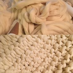 From a sea of roving to the makings of a snuggly new woollie. Knitted Blankets, Merino Wool Blanket, Giant Knitting, Extreme Knitting, Big Knits, Chunky Wool, Snuggles, Beautiful Hands, Therapy