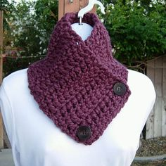 NECK WARMER SCARF Solid Plum Purple, Crochet Knit Wool Blend Thick Buttoned Cowl #Handmade #Scarf