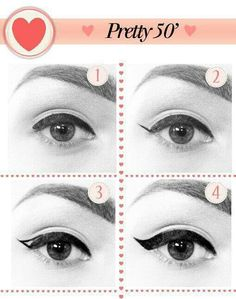 Easy way to apply winged eyeliner. Applying winged eyeliner has always been a task for me. Then i started using this technique, it really wo. hacks for teens girl should know acne eyeliner for hair makeup skincare Vintage Makeup, 1950 Makeup, 1950s Hair And Makeup, Retro Makeup, Perfect Winged Eyeliner, Winged Liner, Eye Liner, Look Retro, Look Vintage