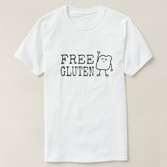 Free Gluten Funny Women's T-shirt - Men's tshirt also available. Cute bread cartoon with fist in air demanding to free gluten immediately. Funny satirical activist food humor design. Great gift for a gluten free baker or anyone who likes bread, baking, cooking, comfort foods, and carbs. This sarcastic tshirt may not be gluten free.  This is an affiliate link. #freegluten #funnyfoodtees
