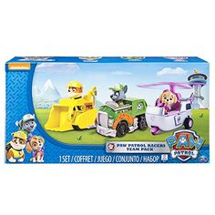 Race to the ruff-ruff rescue with Paw Patrol Rescue Racers three-pack! With real working wheels Rubble Rocky and Skye race into action. Cruise with the Paw Patrol by collecting all of the Paw Patrol. Paw Patrol Rescue, Paw Patrol Toys, Best Christmas Toys, Kids Christmas, Christmas Gifts, Toy Display, Interactive Toys, Educational Toys, Baby Love