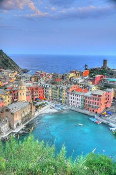Vernazza, Italy - village 2 on Cinque Terre. No cars allowed! It has only 1 main road that connects the train station to the beach. The 5 villages are connected only by hiking trails, train and ferry boats - no cars!