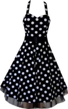 Pretty Kitty Fashion 50s Large Polka Dot Black Rockabilly Swing Prom Pin-Up Dress    www.fashionczar.co.uk