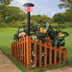 Wood Corner Fence with Color-Changing Solar-Powered Light | Decor & Garden | Brylanehome $80.00