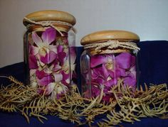 fresh flowers and green leaves preserved in glass jars with glycerol