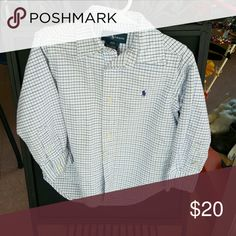 Ralph Lauren button down shirt Button down shirt  Light Blue & White  plaid Ralph Lauren Shirts & Tops Button Down Shirts