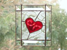 Red Heart Stained and Beveled Glass Suncatcher