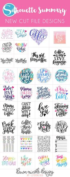Silhouette Summary: July's New Cut File Designs. A monthly recap of all the designs I've added to the Silhouette Design Store. Creative Lettering, Brush Lettering, Silhouette Cameo Projects, Silhouette Design, Cricut Creations, Planner, Vinyl Projects, Cutting Files, Clip Art