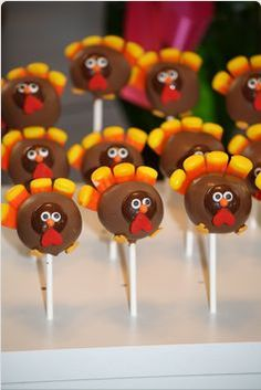 Turkey cake pops...also could be made w/ a chocolate dipped Oreo & other candies.