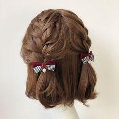 Buy Twin Bear Plaid Bow Hair Clip | YesStyle